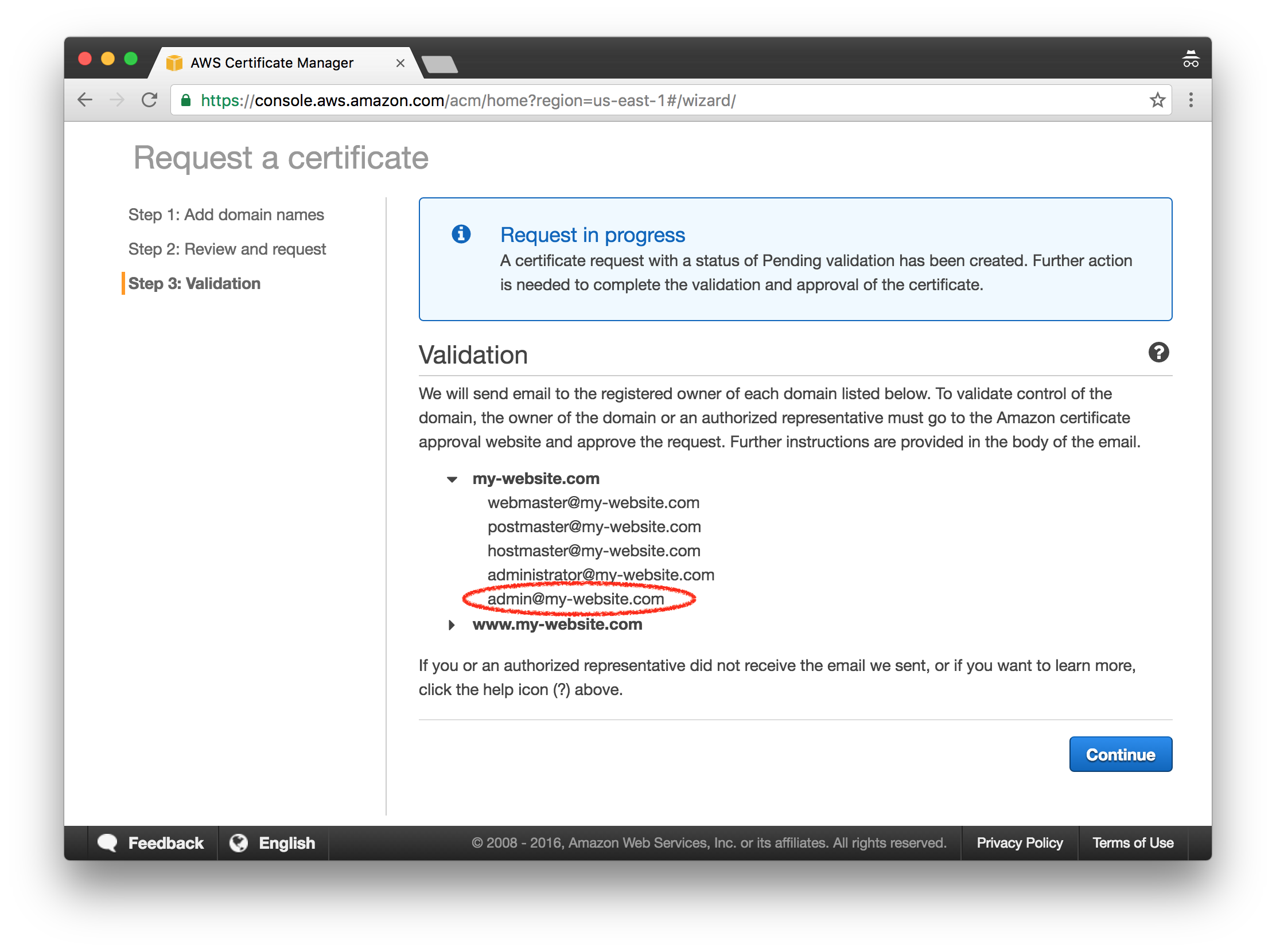 Host a static site on aws using s3 and cloudfront david baumgold aws certificate manager validation in progress 1betcityfo Choice Image