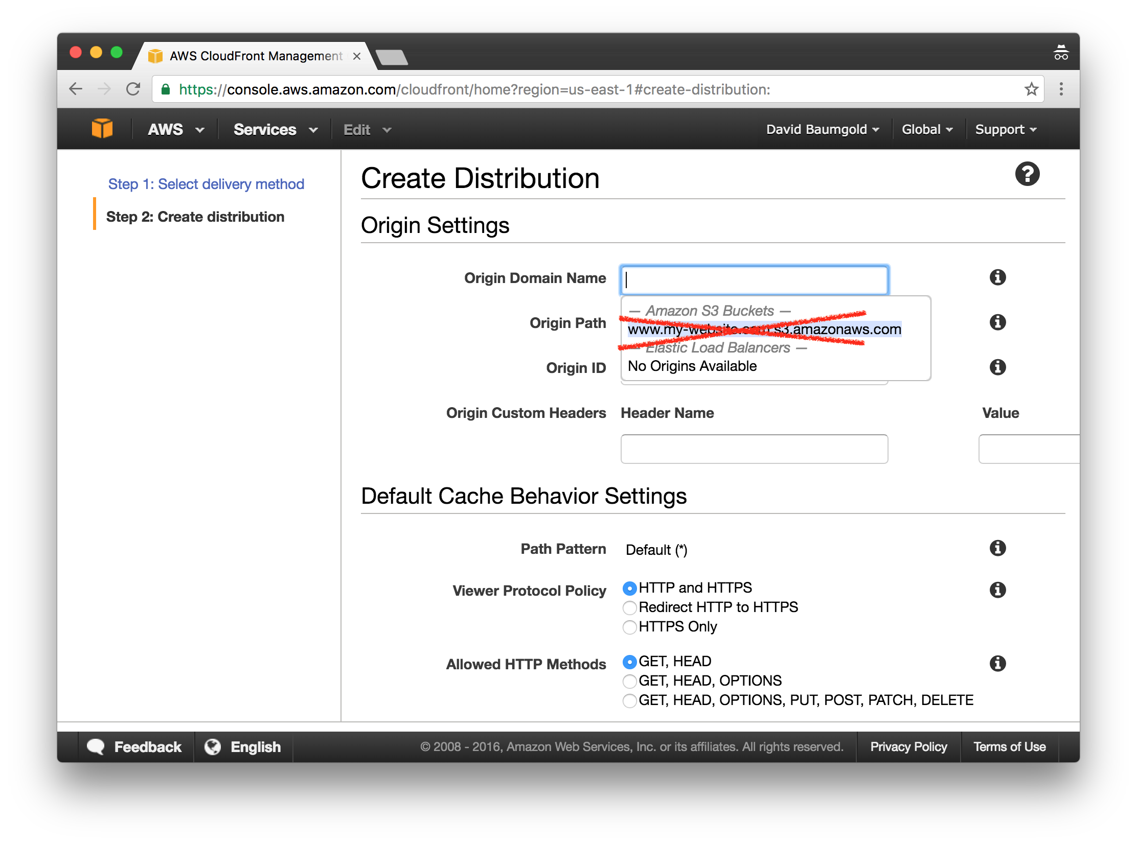 Host A Static Site On Aws Using S3 And Cloudfront David Baumgold