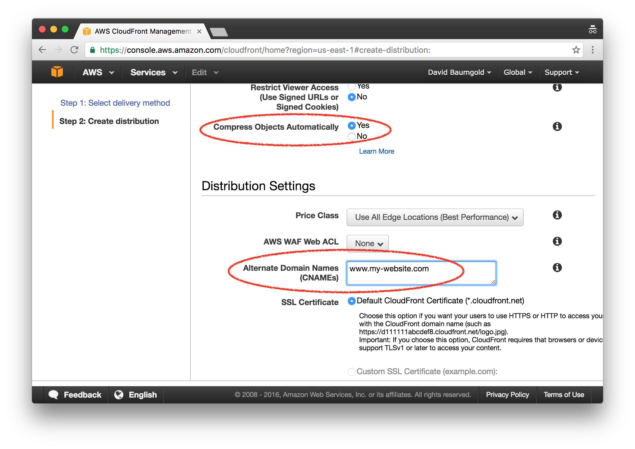 Host a static site on aws using s3 and cloudfront david baumgold aws cloudfront creating a distribution xflitez Gallery