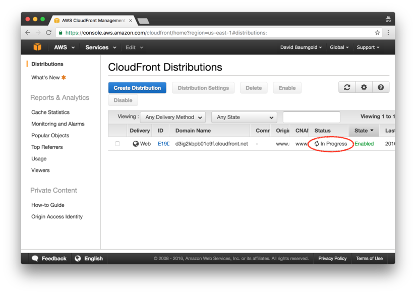 CloudFront distribution being created